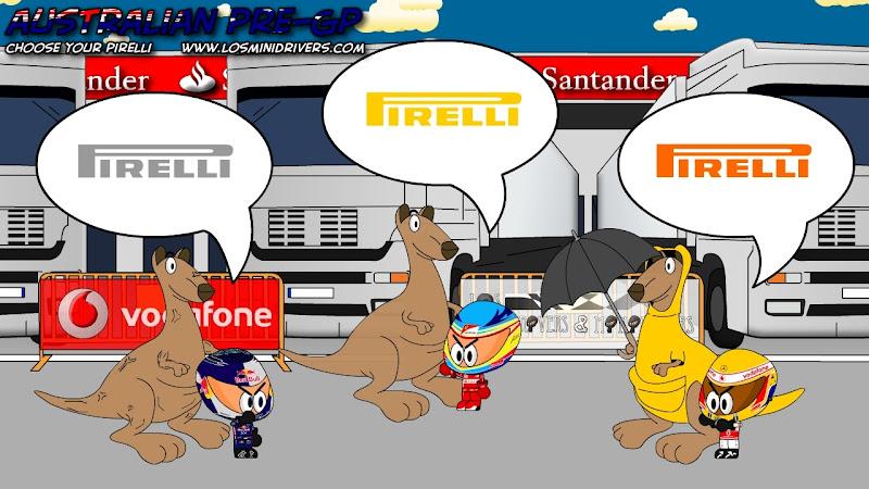 Себастьян Феттель Фернандо Алонсо Льюис Хэмилтон выбирают комплекты резины Pirelli на Гран-при Австралии 2011