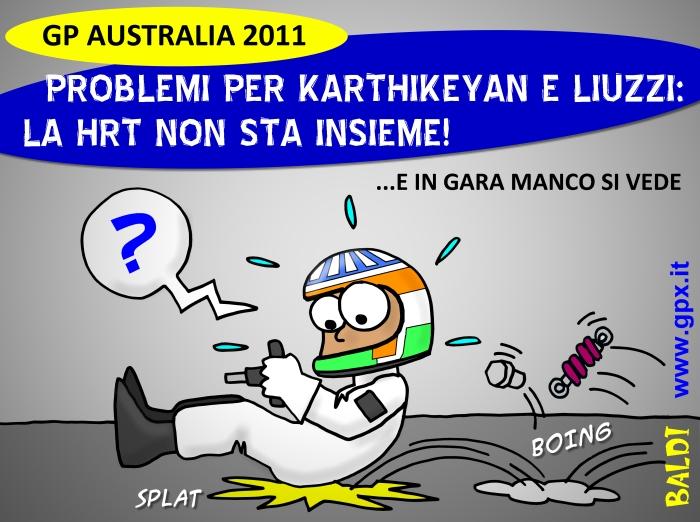Нараин Картикеян в своем болиде HRT на Гран-при Австралии 2011 комикс Baldi
