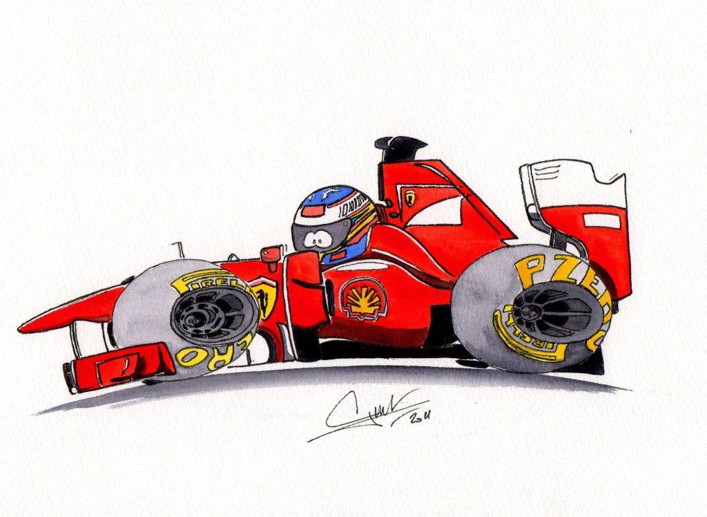 комикс болид Фернандо Алонсо Ferrari 2011