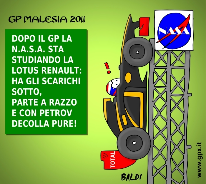 Lotus Renault Виталия Петрова на стартовой площадке NASA после гонки на Гран-при Малайзии 2011 в комиксе Baldi