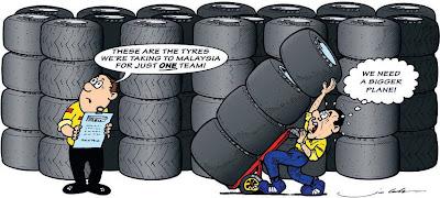 комикс Jim Bamber перед Гран-при Малайзии 2011 про резину Pirelli