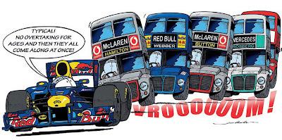 Себастьян Феттель жалуется на обгоны комикс Jim Bamber после Гран-при Китая 2011