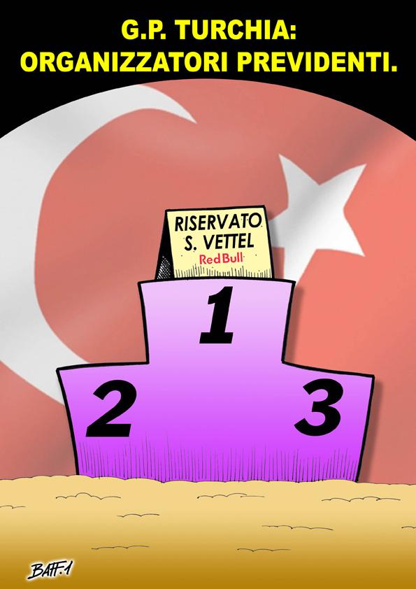 Себастьян Феттель зарезервировал место на вершине подиума комикс Baffi Гран-при Турции 2011