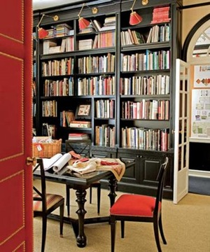 Black built in bookcases