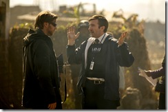Director Neill Blomkamp (left) and Sharlto Copley on the set of TriStar Pictures' DISTRICT 9.