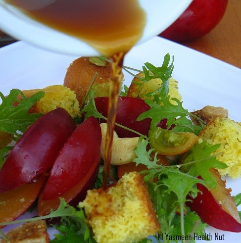 Yasmeen Health Nut: Plum Corn bread Salad with Cider Vinegar Dressing