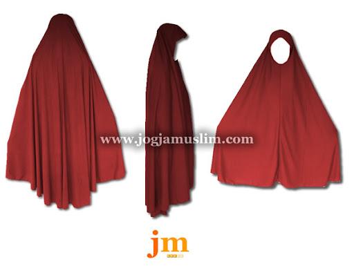 Jual Murah Pakaian Muslim Jilbab Dewasa Bahan Kaos Warna Merah