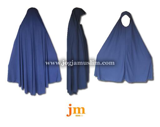 Jual Murah Pakaian Muslim Jilbab Dewasa Bahan Kaos Warna Biru Tua