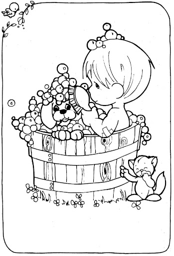 Child taking a  bath with his dog – Precious Moments coloring pages
