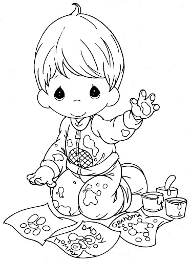 Child artist – precious moments coloring page