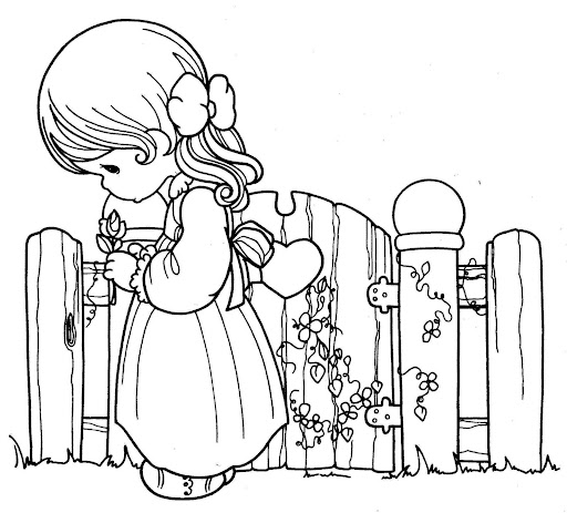 Girl in love  coloring pages