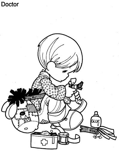 Niño reparando su caballito de madera para colorear
