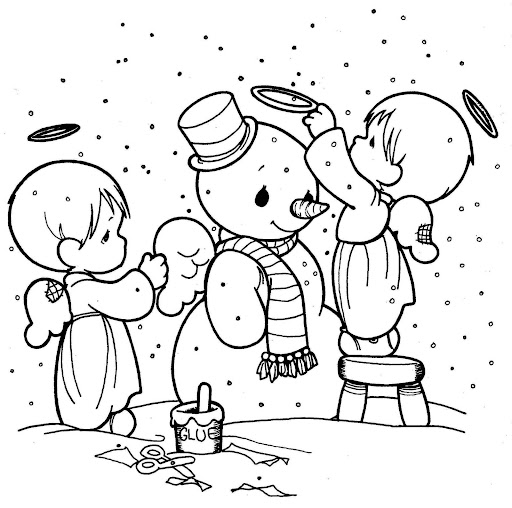 angels in the winter coloring pages