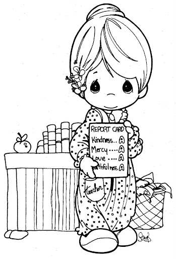 Precious Moments Teacher Coloring Pages