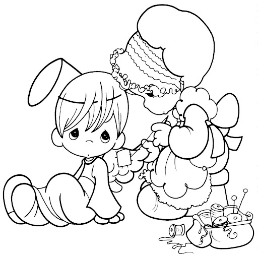 Mom sewing costume for your child – coloring pages