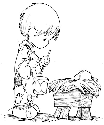 boy with a drum Precious Moments coloring pages