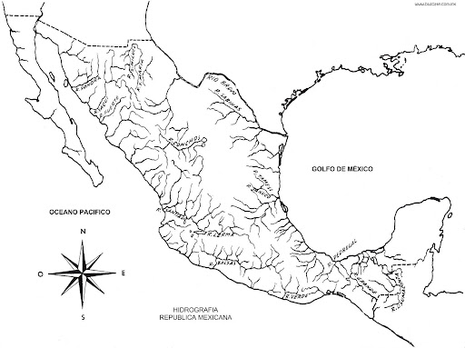 Map of the rivers of mexico coloring pages coloring pages for Mexico map coloring page