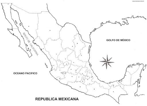 Pinto Dibujos: Mapa de México con división política para colorear