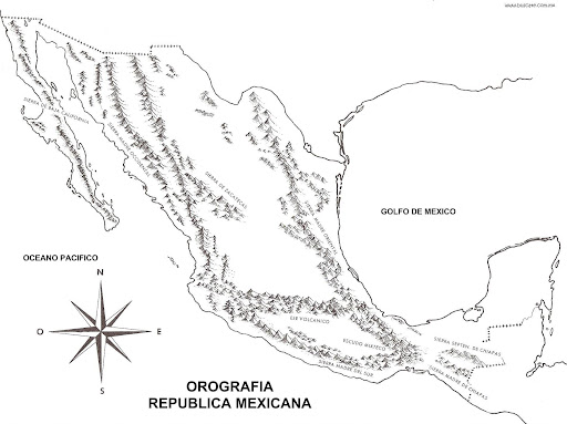 Map of the mountains of mexico coloring pages for Mexico map coloring page