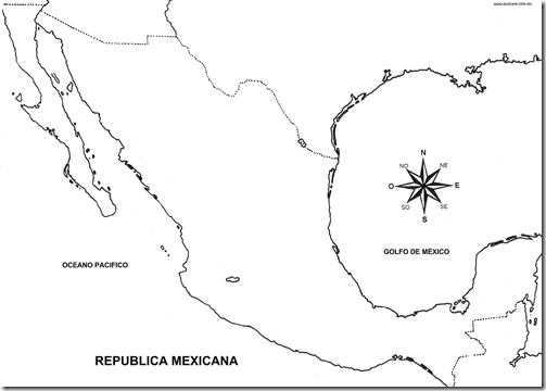 Map of Mexico coloring pages