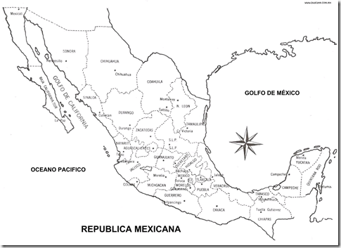 Map of Mexico with names coloring pages