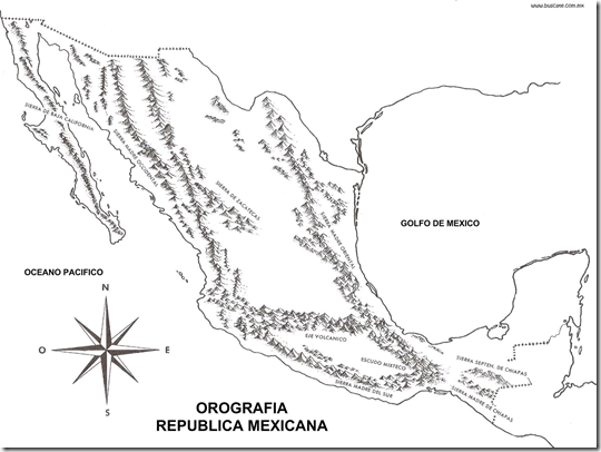 Map of the mountains of Mexico