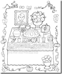 Day of the dead altar coloring pages
