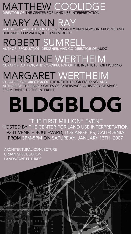 BLDGBLOG - The 'First Million' Event