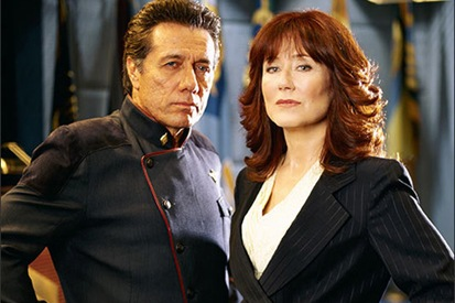 Edward James Olmos as Commander (later Admiral) Adama and Mary McDonnell as  President Laura Roslyn