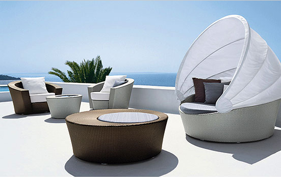 Hemisphere Lounge Chairs,Cocktail and Side Tables, Orbit with Canopy - Richard Frinier for Dedon