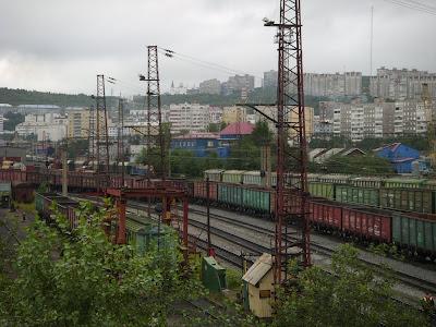 ムルマンスク駅の貨物列車