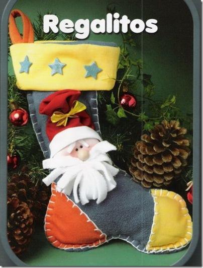 Manualidad bota con papá Noel de forro Polar