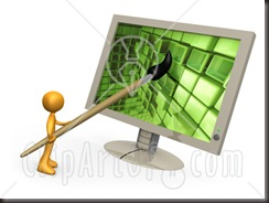Orange Person, A Cartoonist Or Web Designer, Using A Paintbrush On A Flat Screen Computer Monitor To Create An Image Or To Design A Website Clipart Illustration Graphic