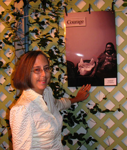 2009 Portraits of Hunger winner G.K. Sharman with her photograph titled Courage.