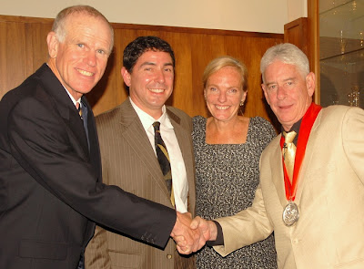 Peter Hillary, Dr. Beau Beza (Chair of Hillary Medal Selection Committee), Sue Badyari (CEO of World Expeditions), 2010 Hillary Medal winner Scott MacLennan (Director of Mountain Fund) 