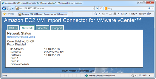 Amazon EC2 VM Import Connector for VMware vCenter network configuration