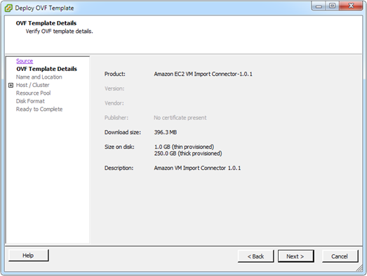 Deploy OVF Template: Verify OVF template details
