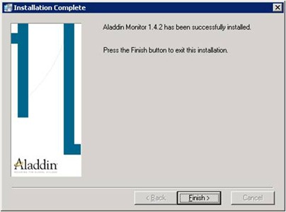 Aladdin HASP Monitor installer: installation complete screen