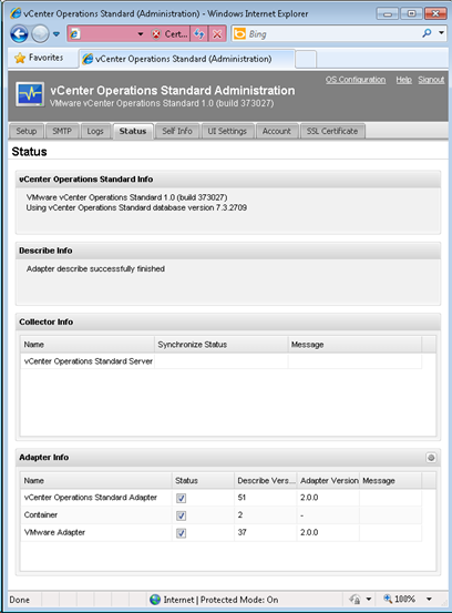 vCenter Operations - status tab