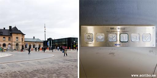 Två bilder. Nya och gamla stationshuset. Konstiga hissknappar