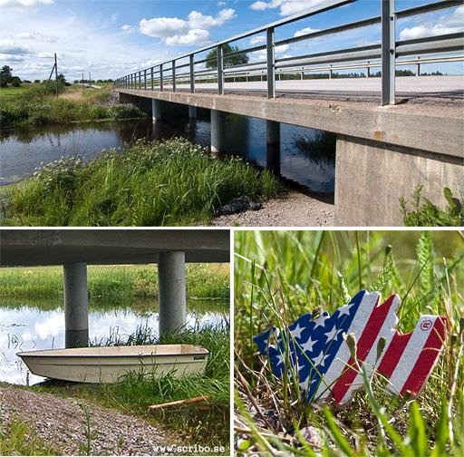 Tre bilder: bro Ärentunavägen, roddbåt under bron, doftgran liggandes i vägkanten.