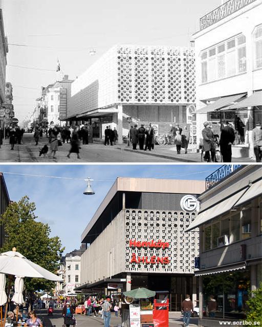 Tempo- eller Åhlenshuset när det byggdes och idag