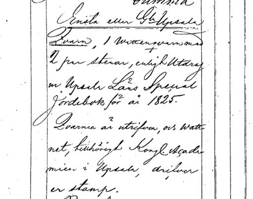 Utrag ur handlingar för laga skifte i Ensta 1854-1866