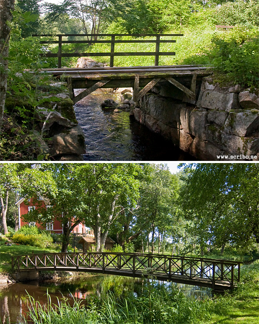 Två träbroar över den gamla kvarnrännan vid Ensta, Fyrisån