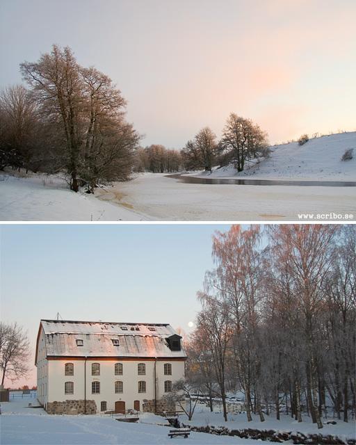 Rosa himmel vid Fyrisån och Ulva kvarn