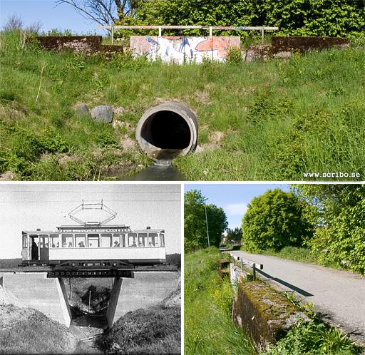 Spårvagnsbron vid Ultuna, två bilder från 2010 och en från 1928