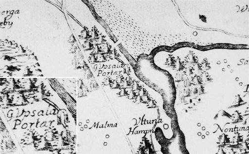 Karta från Olof Rudbecks Atlantica 1677 visar Ultunaåsen och Upsala portar