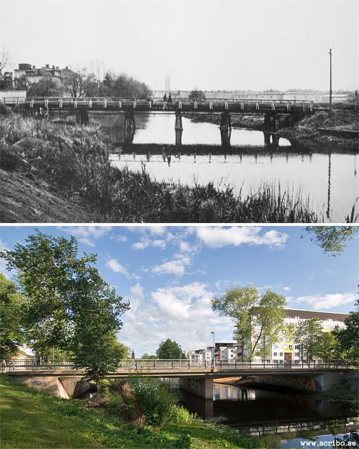 Två bilder på Fyrisvallsbron, i början av 1900-talet och 2010