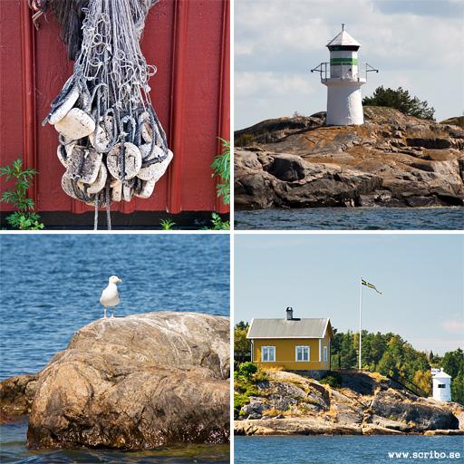 Fyra bilder på skärgårdsmotiv. Fiskenät, fyr, klippa med mås, stuga på häll