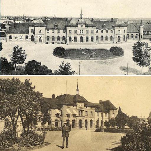 Uppsalas gamla stationshus med svart och vit klocka